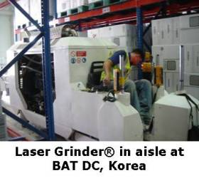 Laser Grinding in Aisle at British American Tobacco DC
